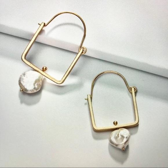 Anthro Natural Pearl Drop Earrings